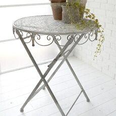 ガーデンテーブルグレイッシュ直径60×高さ74cm折り畳み式