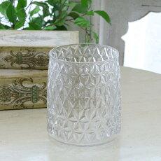 花瓶おしゃれガラスアンティーク風雑貨コベントガーデンディンプルクリアポットベースガラス花瓶Φ12.5×高さ15cm