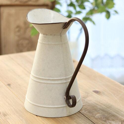 ピッチャーブリキ花瓶アンティーク風ナチュラルフラワーベースアンティーク調