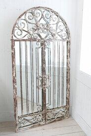 コベントガーデン アイアンウォールドアミラー アンティーク風壁掛け鏡 アンティーク雑貨 巾61.5×奥行2.5×高さ117cm