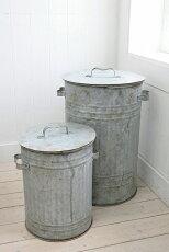アンティーク風雑貨ブリキ缶大ゴミ箱アンティーク蓋つきブリキ缶ロング2点セットコベントガーデン