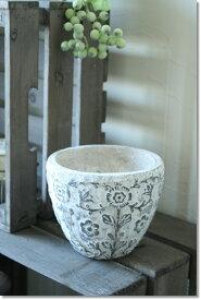 アンティーク風 雑貨 アンティーク 花瓶 植木鉢 陶器 フラワーベース 北欧 花器 白【ハンプトンポット Φ15×高さ12.5cm】コベントガーデン