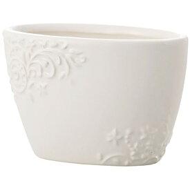 アンティーク風 雑貨 陶器 花瓶 ファミニンベース ホワイト 巾12.5×奥行7×高さ8cm