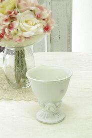 アンティーク風 雑貨 陶器 花瓶 カントリーベース アンティークローズ ホワイト Φ9×高さ9.5cm