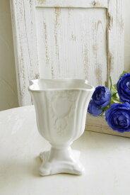 花瓶 おしゃれ 陶器 白 アンティーク風 フラワーベース アンティーク調 花器 口径9×高さ12.5cm