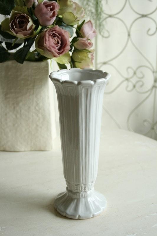 花瓶 おしゃれ 一輪挿し 花瓶 おしゃれ 陶器 フレンチ フレンチカントリー アンティーク風 フラワーベース アンティーク調 フレンチベース ライトグレー Φ9×高さ21cm 10月24日(水)入荷予定