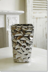 アンティーク風 雑貨 陶器 花瓶 モダンベース ブラックメタリック 巾14×奥行14×高さ23cm