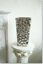 アンティーク風 雑貨 陶器 花瓶 モダンベース ブラックメタリック 巾16×奥行16×高さ30cm