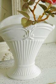 アンティーク風 雑貨 アンティーク 花瓶 陶器 一輪挿し おしゃれ フラワーベース 北欧 花器 白【トラディショナル シェルベース ホワイト 高さ14cm】