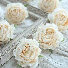 ウェディングブライダル造花アーティフィシャルフラワー髪飾り写真撮影小物薔薇/ソフティ3個セット(ベージュ)