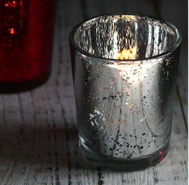 DIDIER ヴィンテージグラス シルバー キャンドルカップ ガラス ティーライト専用 キャンドルホルダー Φ5.5×高さ6.5cm