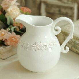 花瓶 おしゃれ 陶器 白 フレンチカントリー フレンチ シャビーシック アンティーク風 アンティーク調 ピッチャー 巾19cm×奥行12cm×高さ18cm