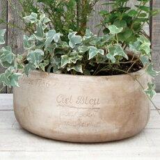 アンティーク風雑貨プランターCielBleuボウルポットブラウン陶器花瓶Φ27×高さ13cm