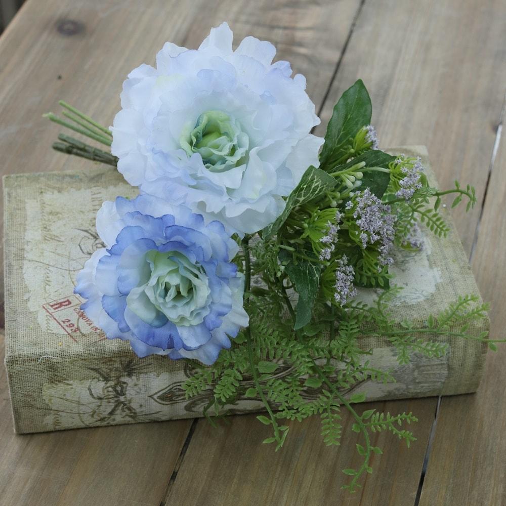 造花 おしゃれ ブーケ パーツ エマリシアンサスブーケ ライトブルー 可愛い 花束 花径8〜10×巾15cm