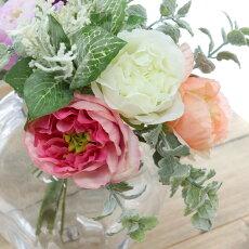 造花花束おしゃれブーケパーツイングリッシュローズブーケ可愛い花束ローズ花径6.5×巾15cm