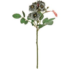 アンティーク風 雑貨 造花 バラ リトルマーメイド ブルーグリーン 花径1〜2×長さ23cm