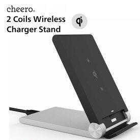 折り畳み式 ワイヤレス充電スタンド cheero 2 Coils Wireless Charger Stand ( Qi認定) 置くだけ簡単充電 ワイヤレス充電器 iPhone 8 / 8 Plus / X / Galaxy S9 / S9+ / S8 /S8+ / S7 / S7 edge / S6 / Xperia XZ2 等 Android機種 Qi対応