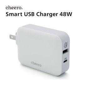 12月4日(水)20:00〜11日(水)1:59 エントリーで★ポイント最大7倍★ USB タイプC タイプA 2ポート アダプタ 充電器 パワーデリバリー 30W Power Delivery QC3.0 対応 チーロ cheero Smart USB Charger 48W 小型 高速充電 急速充電 折り畳み式プラグ