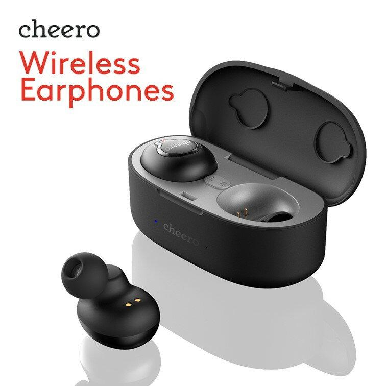 ★あす楽対応★ 完全ワイヤレス イヤホン チーロ cheero Wireless Earphones 充電機能付イヤホンケース マイク付 ハンズフリー 防水 IPX4 ノイズキャンセリング CVC6.0 左右分離型 軽量 高音質 Bluetooth 4.2 環境音ON/OFF機能搭載 iPhone Android 対応