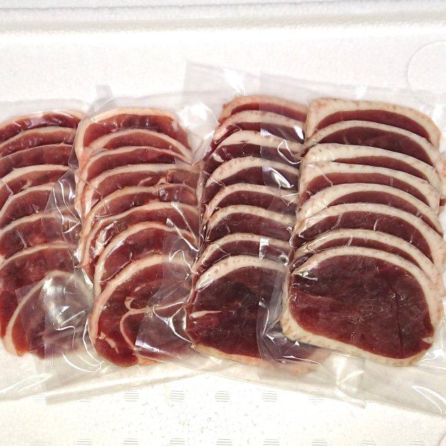 【送料込み】スライス鴨肉セット鴨ローススライス150g×2、鴨ももスライス150g×2 国産:青森県産ギフト/贈り物/母の日/父の日/敬老の日/カード、熨斗(のし)可【RCP】