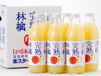 Tsugaru ripe apples white label bin 1000ml×6 book, rich flavor, pectin-rich