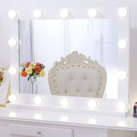 【4月15日入荷順次に発送】LED付き卓上鏡 大型 送料無料 無段階調光 女優ミラー タッチスイッチ付き 壁掛け スタンド 両方可 高輝度 アルミ製 軽量 頑丈 シンプル メイクアップ ガラスミラー 卓上ミラー 化粧鏡 ミラー ホワイト