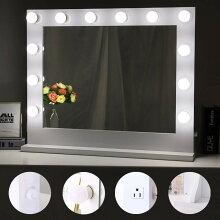 卓上ミラー化粧鏡大壁掛け送料無料LEDライト付き無段階調光コンセント付き明るいウォールマウントシンプル収納スタンドミラー女優ミラードレッサーメイクアップホワイト80cm*65cm