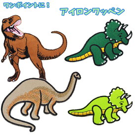 ワッペン 恐竜 ティラノサウルス トリケラトプス かわいい 女の子 男の子 ワンポイントワッペン ノンキャラ アップリケ アイロンシール 【wp0027】