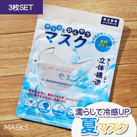 冷感 マスク 濡らす 立体 3枚 速乾 夏 男女兼用 マスク 女性 大人 シンプル ひんやり 冷たい クール 接触冷感