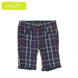 【送料無料】クレイジーエイト正規品(Crazy8)ネイビーチェックのフリル付きバミューダパンツ