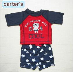 【送料無料】カーターズ正規品(Carter's)ネイビー×レッドの半袖ラッシュガード&星柄スイムパンツのセット