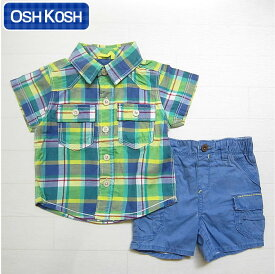 オシュコシュ正規品(OshKosh)ブルー&グリーン(青 緑)のチェックシャツとブルーのショートパンツの2点セット(6M 9M 12M 6ヶ月 9ヶ月 12ヶ月 1歳 1才 赤ちゃん 男の子用)(50cm 60cm 70cm 80cm 90cm 14501519 OshKosh)在庫処分