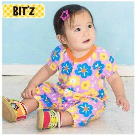 Bit'z ビッツ お花柄 半袖カバーオール ベビー ロンパース 出産祝い 女の子 FO BITZ 60cm 70cm 80cm 半袖 カバーオール B233025