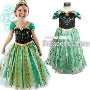 6c8f3f39ee69a  ハロウィンキッズ 緑ロング半袖プリンセスドレス衣装女の子用女の子子供ベビーコスチューム