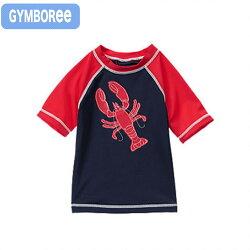 【送料無料】ジンボリー(Gymboree)ネイビー×レッドのロブスター柄半袖ラッシュガード水着
