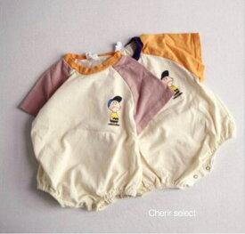ベビーロンパース 赤ちゃん 韓国子供服 ベビー服 Tシャツ ロンパース ドルマンスリーブ バイカラー 夏服 70 80 90 0歳 1歳【ラッピング対応可】