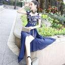 【メール便送料無料!】ドレス オフショル カシュクール肩魅せデザイン レース×シフォントレーン ロングドレス セク…