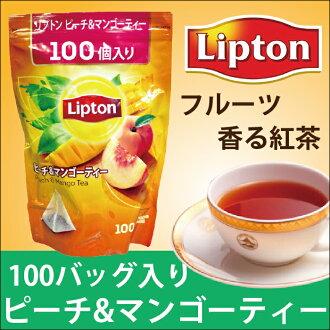 Tea is large-capacity in Lipton Lipton peach & mango tea bag 100 bags tea drink teatime