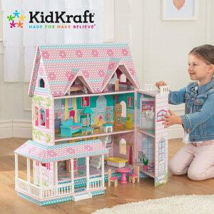 ドールハウス 家具付 大きい 高さ70cm キッドクラフト アビーマナードールハウス 木製ドールハウスセット 2階+屋根裏部屋付 おままごと KIDKRAFTお人形遊び にぴったり アビードールハウス