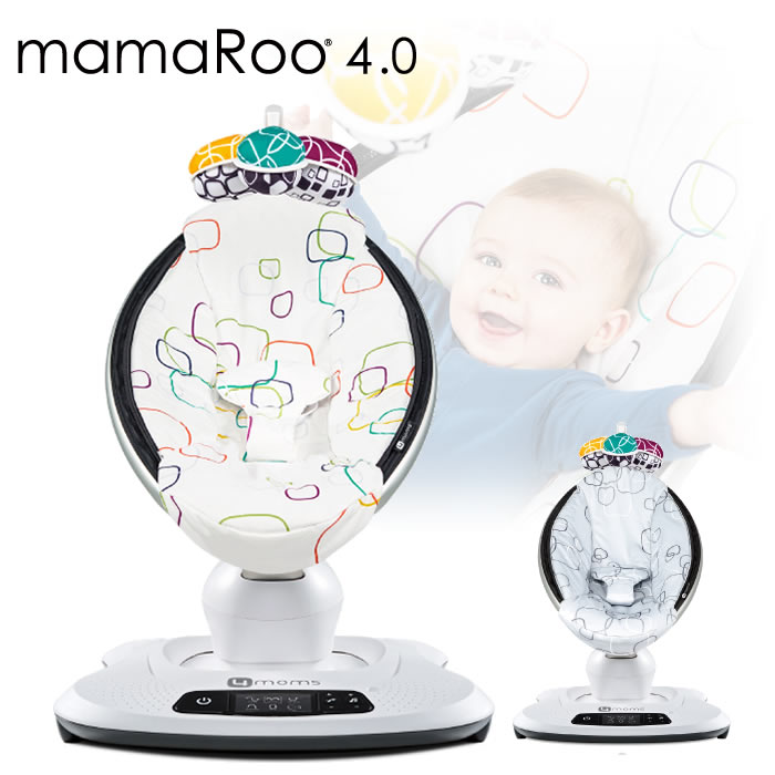 mamaroo4.0 新登場 バウンサー 電動バウンサー ベビーバウンサー ママルー4.0 プラッシュ 4moms 電動 オートスイング ハイアンドローチェア(マルチ/シルバー 2色)