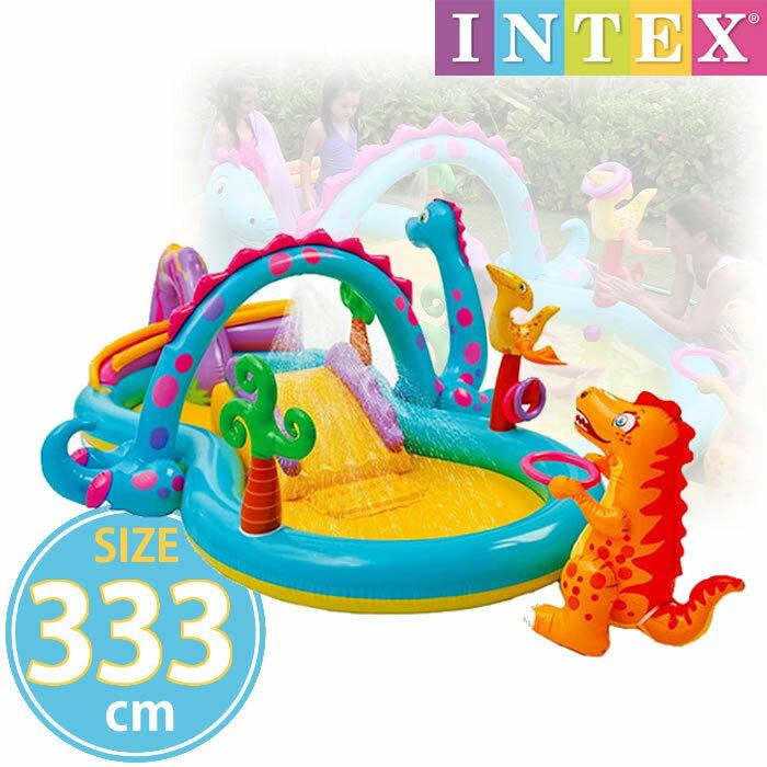 恐竜子どもプール ビニールプール INTEX インテックス ディノランドプレイセンター 333cm×229cm×112cm 滑り台 すべり台 ボール シャワー ボール 水あそび レジャープール 家庭用プール