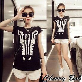 モダンTシャツ ゼブラ イラストプリント 半袖 白黒バイカラー ロックコーデ パンクファッション 16ss