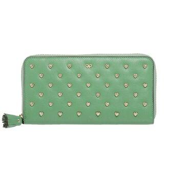 ANYA HINDMARCH(아니야하인드마치) STUDDED HEART JOSS [스타젯트하트죠스]라운드 패스너장 지갑(동전 지갑 첨부) 선명한 녹색 5050925741118 CELADON ANYA HINDMARCH 형이나는 이도마-치