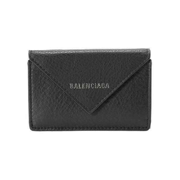 バレンシアガ BALENCIAGA 財布 レディース三つ折り財布 ミニ財布 ブラック PAPER ZA MINI WALLET [ペーパー] 391446 DLQ07 1000 NOIR