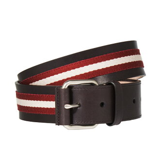 981 Barry /BALLY belt men TRAIN SPOTTING TIANIS-40/ chocolate brown RED BALLY/BEIGE CHOCOLATE
