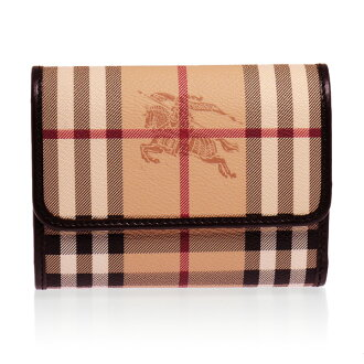 BURBERRY / Burberry wallet tri-fold wallets (purses with) Haymarket check (a classic check) / chocolate LS BELLFIELD HYM 3798969 2070T CHOCOLATE/HAY MARKET BURBERRY