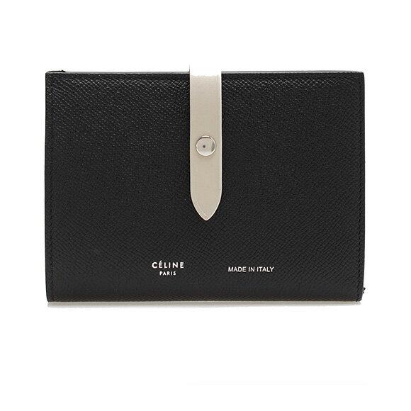 セリーヌ CELINE 財布 レディース 二つ折り財布 STRAP MEDIUM ブラック×チョーク 10481 3AI5 38BJ BLACK/CHALCK