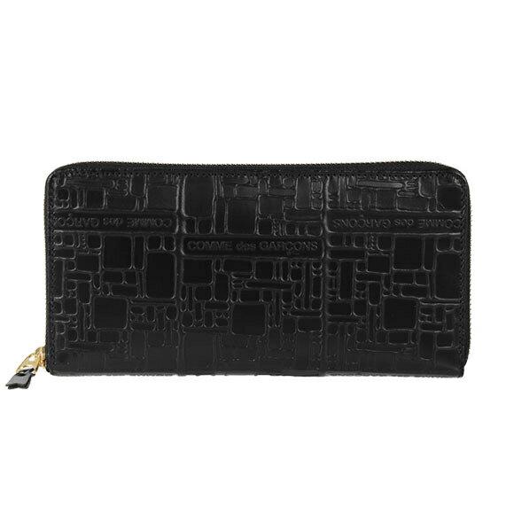 コムデギャルソン COMME DES GARCONS 財布 ラウンドファスナー長財布 ブラック EMBOSSED LOGOTYPE SA0110EL BLACK