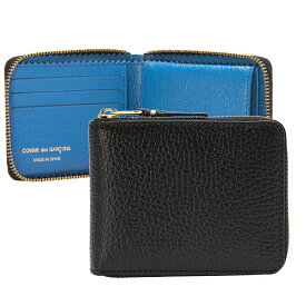 コムデギャルソン COMME DES GARCONS 財布 ラウンドファスナー二つ折り財布 ブラック/ブルー COLOUR INSIDE SA7100IC BLACK/BLUE【ミニ財布】