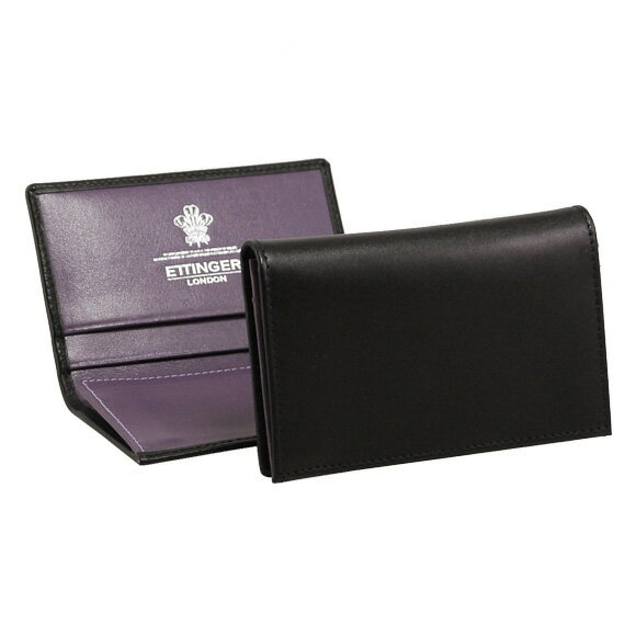 エッティンガー ETTINGER メンズ 名刺入れ(カードケース) ブラック ロイヤルコレクション LEATHER VISITING CARD CASE ST143JR BLACK/PURPLE PURPLE/STERLING COLLECTION【英国】